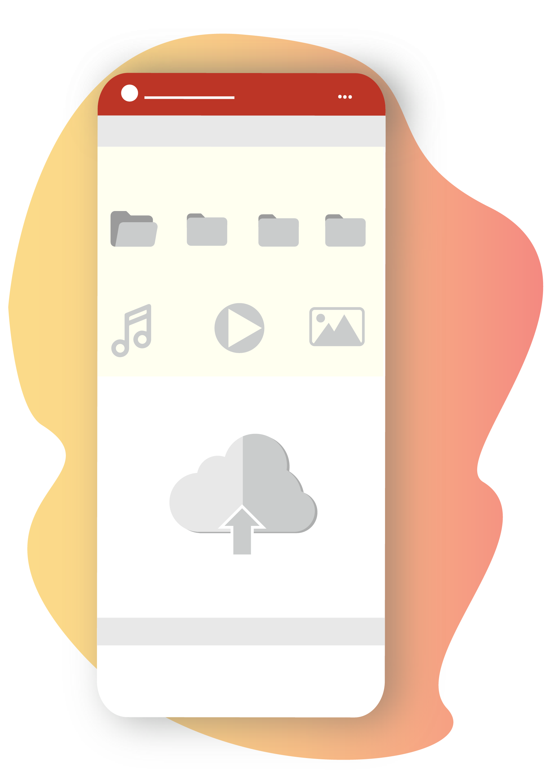A mobile screen showing some folders, files, cloud, music, videos icons