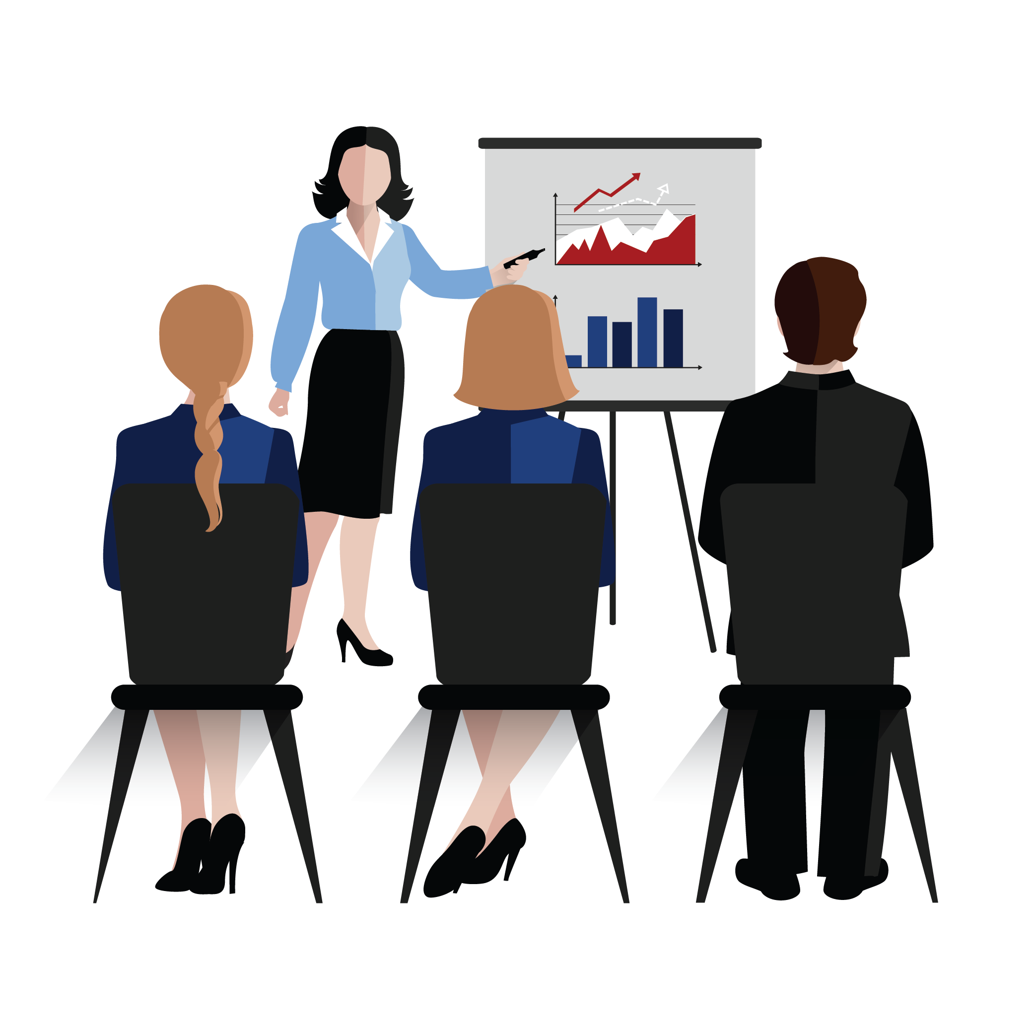 A Sales head of an organization presenting the sales statistics to her three team members