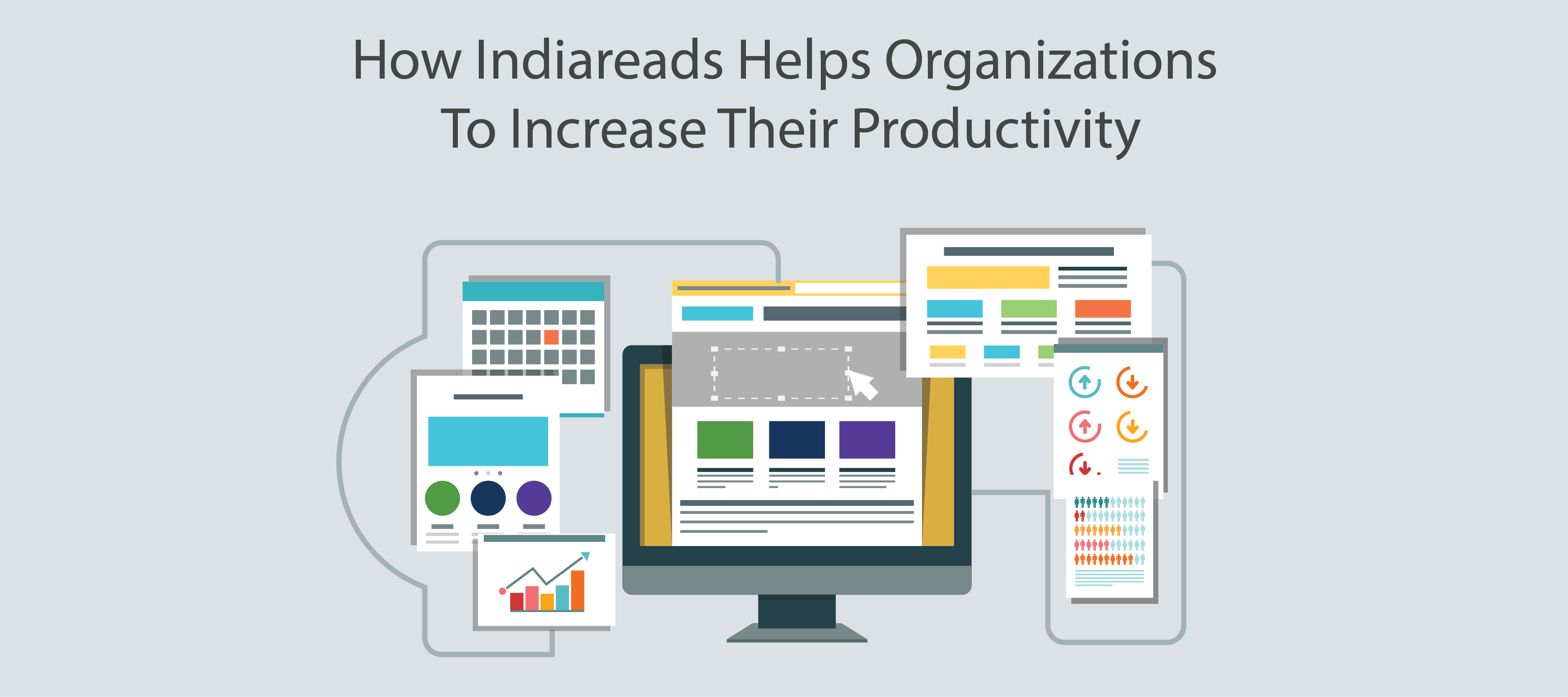 Computer displaying a different diagram of how IndiaReads' KSP can help organizations in increasing productivity