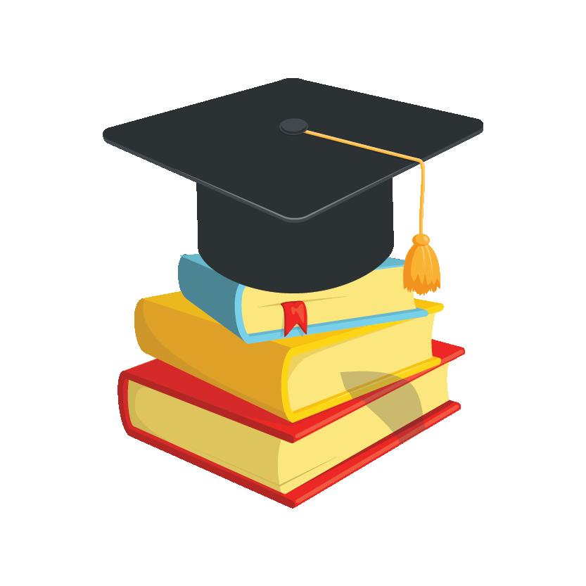 Graduation cap kept on three course books