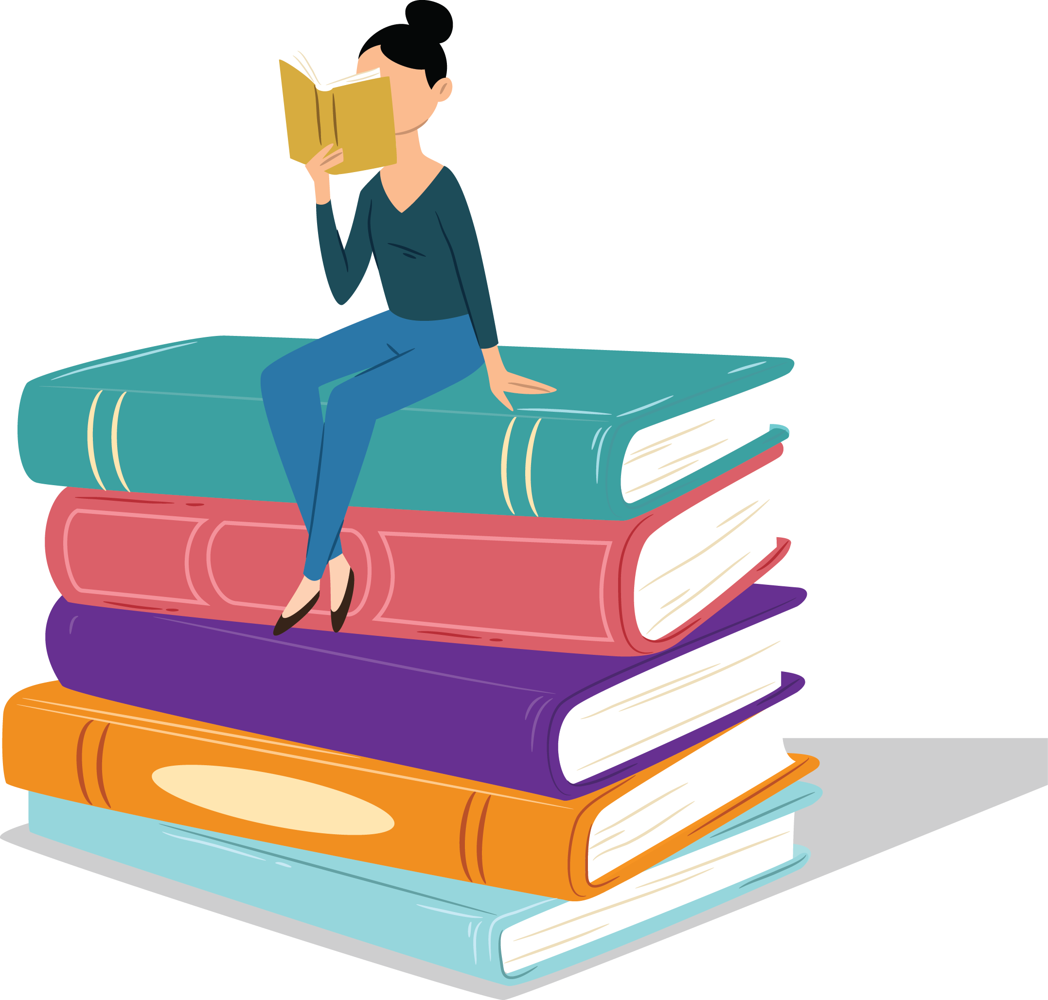 An organization's employee reading a book and sitting on a pile of books.