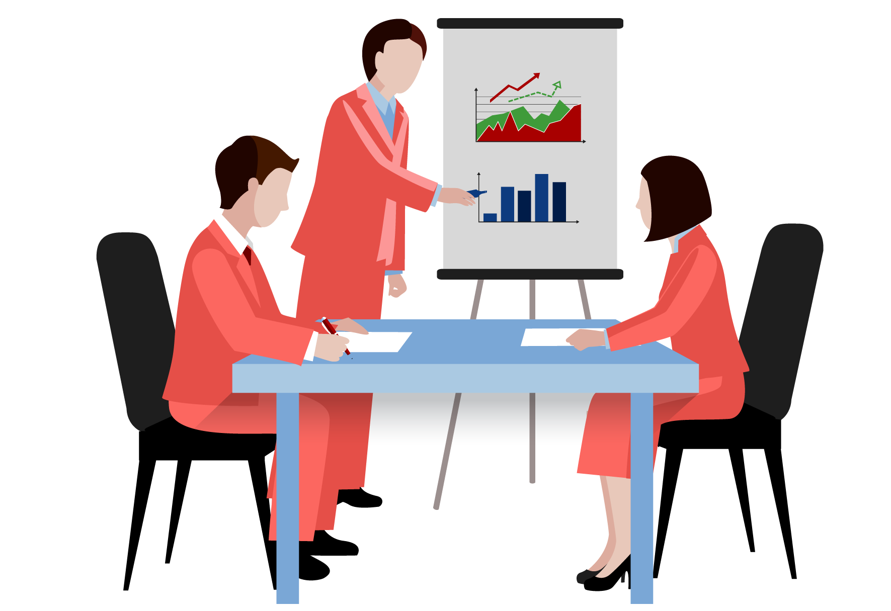 Sales team leader presenting sales figures in bar diagram with two employees on a white board